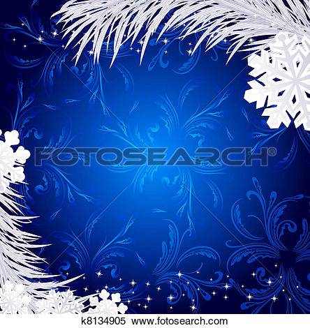 Stock Illustration of Blue Christmas holiday background with.