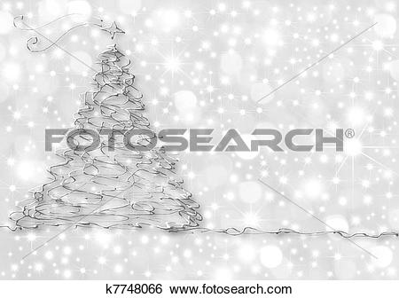 Stock Illustration of Christmas Cards abstract silver fir k7748066.
