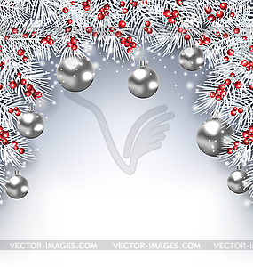 Glowing Background with Silver Fir Branches.