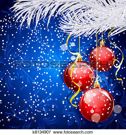 Stock Illustration of Blue Christmas festive background with red.