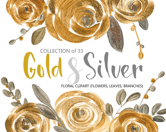Flower clipart: gold & silver acrylic roses, metallic.