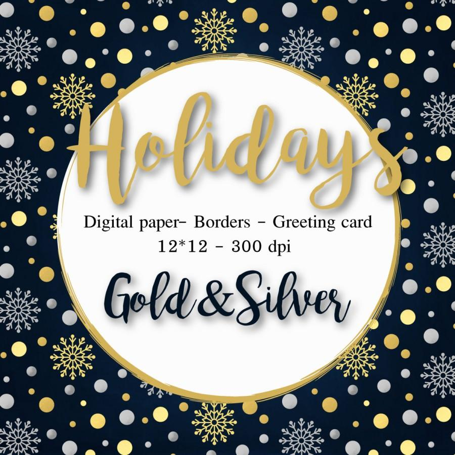 Christmas Clipart Gold Silver Digital Paper Christmas Cards.