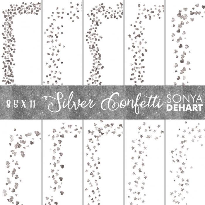 Clip Art Silver Glitter Foil Confetti Page Borders.