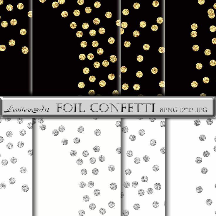 Confetti foil clipart Gold and silver glitter polkadots border.