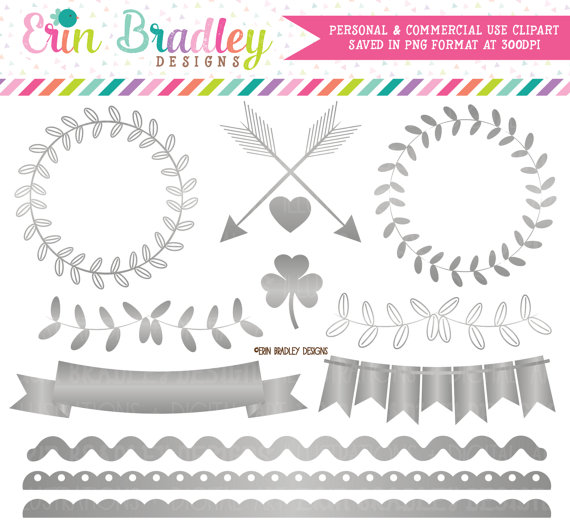 Silver Foil Clipart Graphics Instant by ErinBradleyDesigns on Etsy.