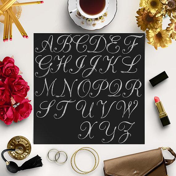 BUY 5 FOR 8, Silver Foil Alphabet Clip Art, Hand Drawn Letters.