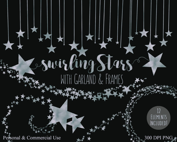 SILVER STARS Clip Art Commercial Use Clipart SILVER by ClipArtBrat.