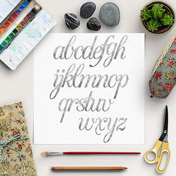 Silver Alphabet, Silver Font Clip Art, Hand Drawn Letters, Silver.