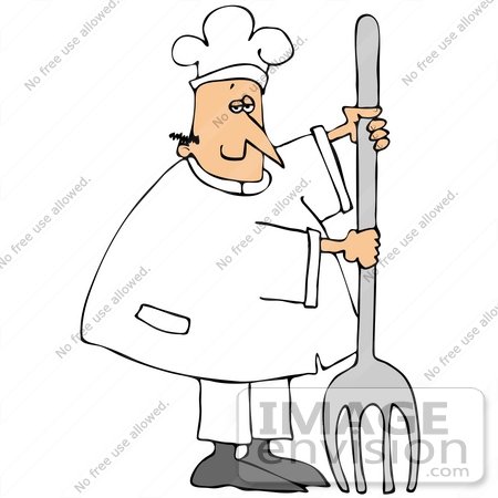 Clip Art Graphic of a Caucasian Chef Man In White, Holding Up A.