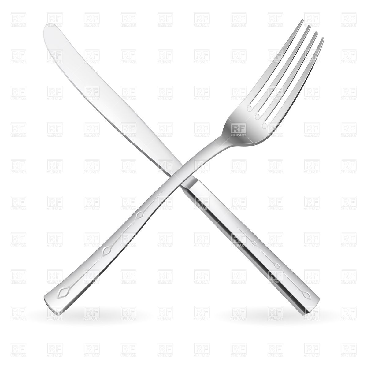Crossed silver fork and knife Vector Image #7793.