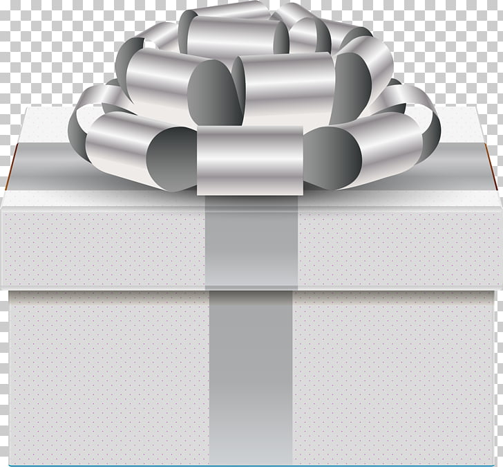 Ribbon Decorative box, painted silver gift boxes PNG clipart.