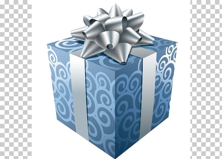 Christmas gift Christmas gift , Blue Gift with Silver Ribbon.