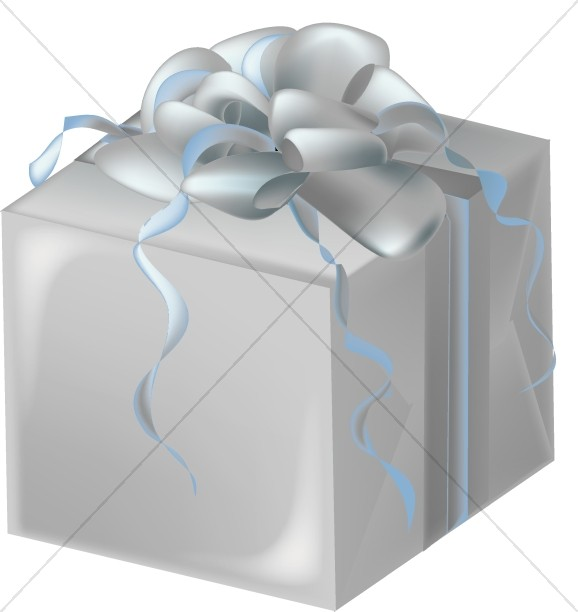 Silver Gift Box with Bluish Bow.