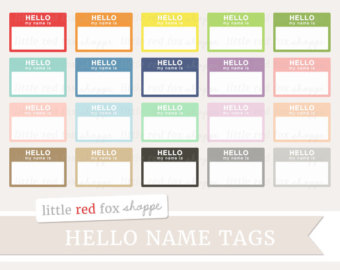 60% OFF SALE Digital Clipart Labels Hello My Name Is Teacher.