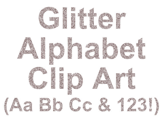 Silver Glitter Letters Clip Art Digital Glitter Alphabet.
