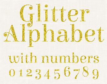 Gold Fancy Glitter Alphabet Glitter Numbers Glitter Clip.