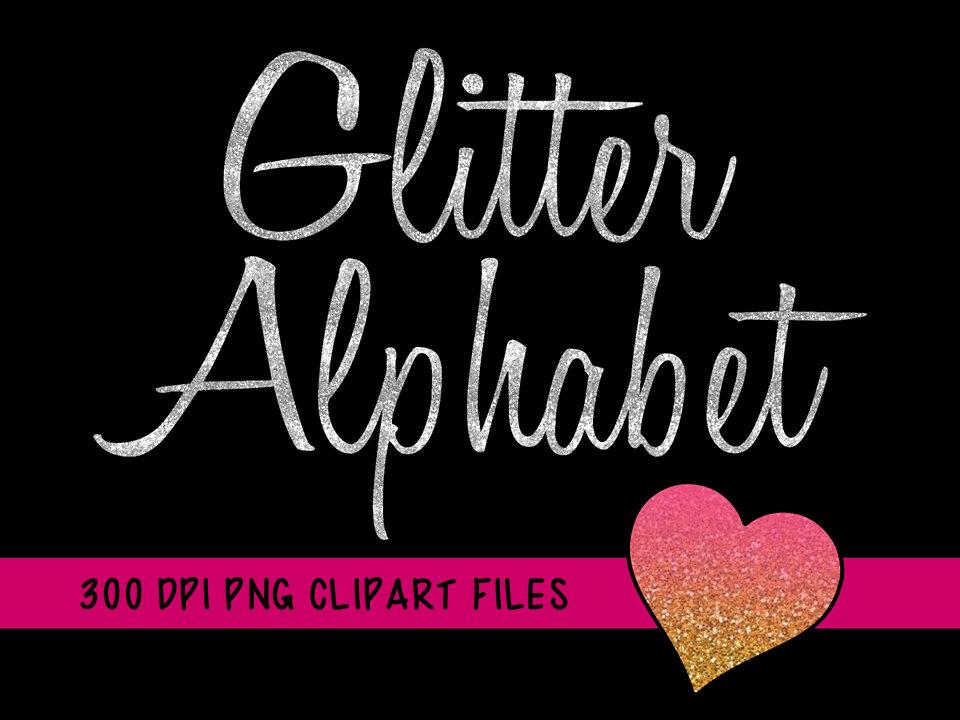 Silver Glitter Alphabet Clipart, Glitter Alphabet Clip Art, Silver.