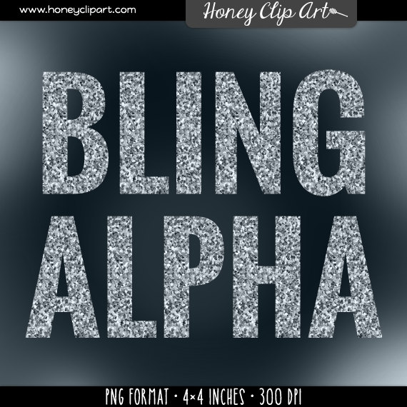 Silver glitter text: sparkly diamond bling letter stock.