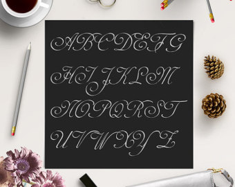 BUY5FOR8 Silver Alphabet Clipart, Silver Glitter Letters, Fancy.
