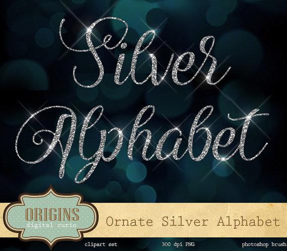 silver glitter alphabet letter clipart #2