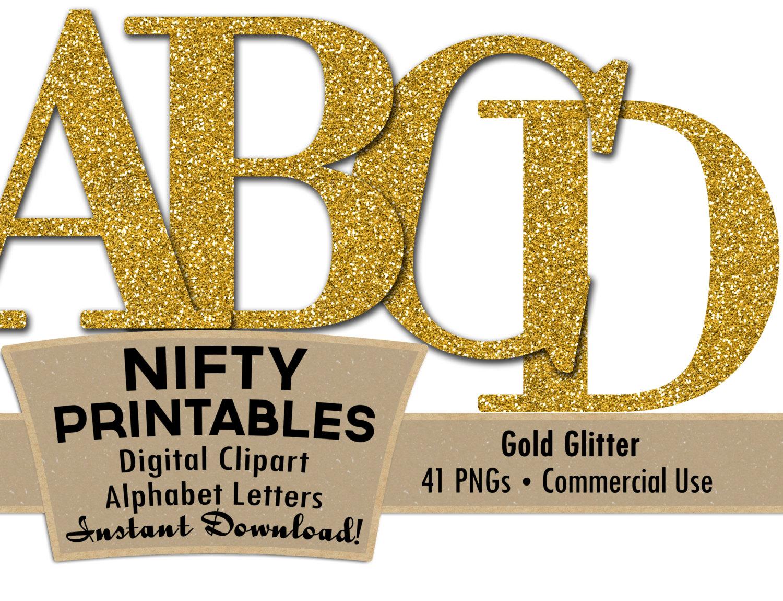 Gold Glitter Alphabet Letters Set.