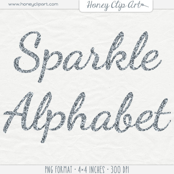 Silver glitter font clip art: silver glitter letter clipart.