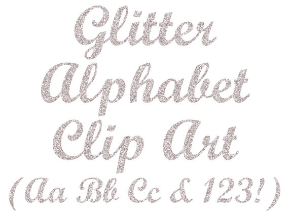Glitter Silver Alphabet Clipart Digital Glitter Letters.