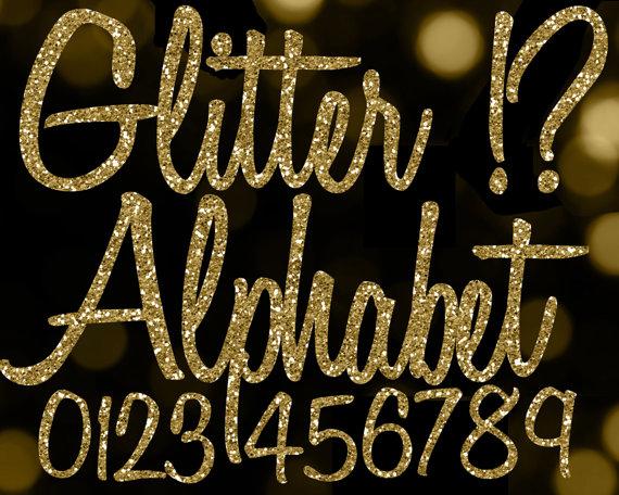 Gold Glitter Alphabet Clipart: Glitter Alphabet Clip Art, Gold.