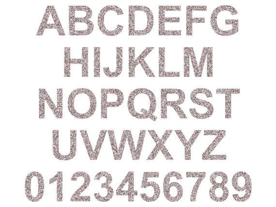 Silver Glitter Letters Clip Art.