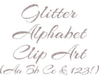 SALE50% Gold Glitter Alphabet Clipart: