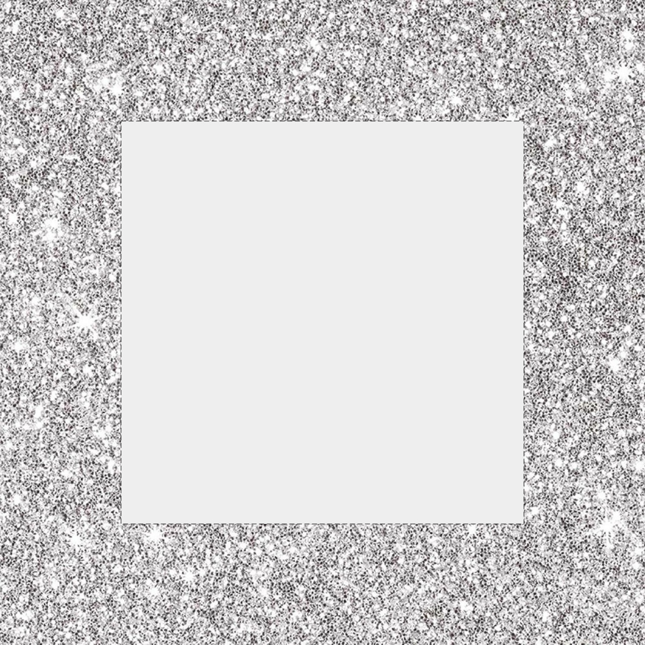 Instagram Border Template: Glitter Silver.