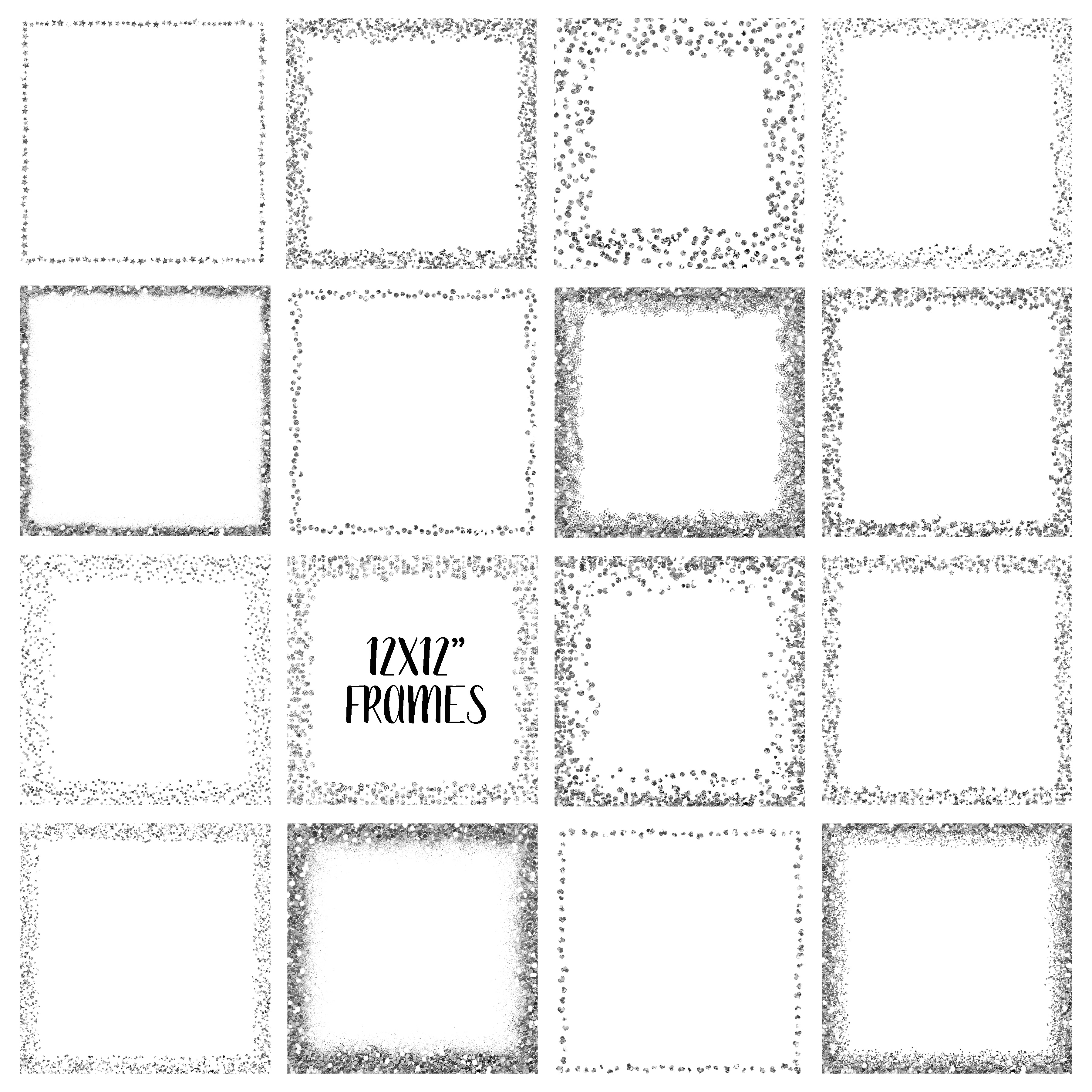 Silver Glitter Frames and Borders PNG Clipart Bundle.