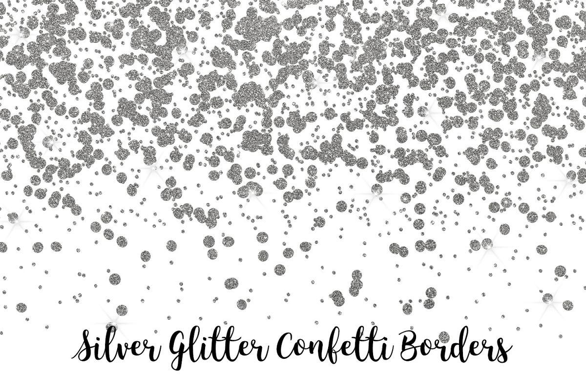 Silver Glitter Confetti Borders.