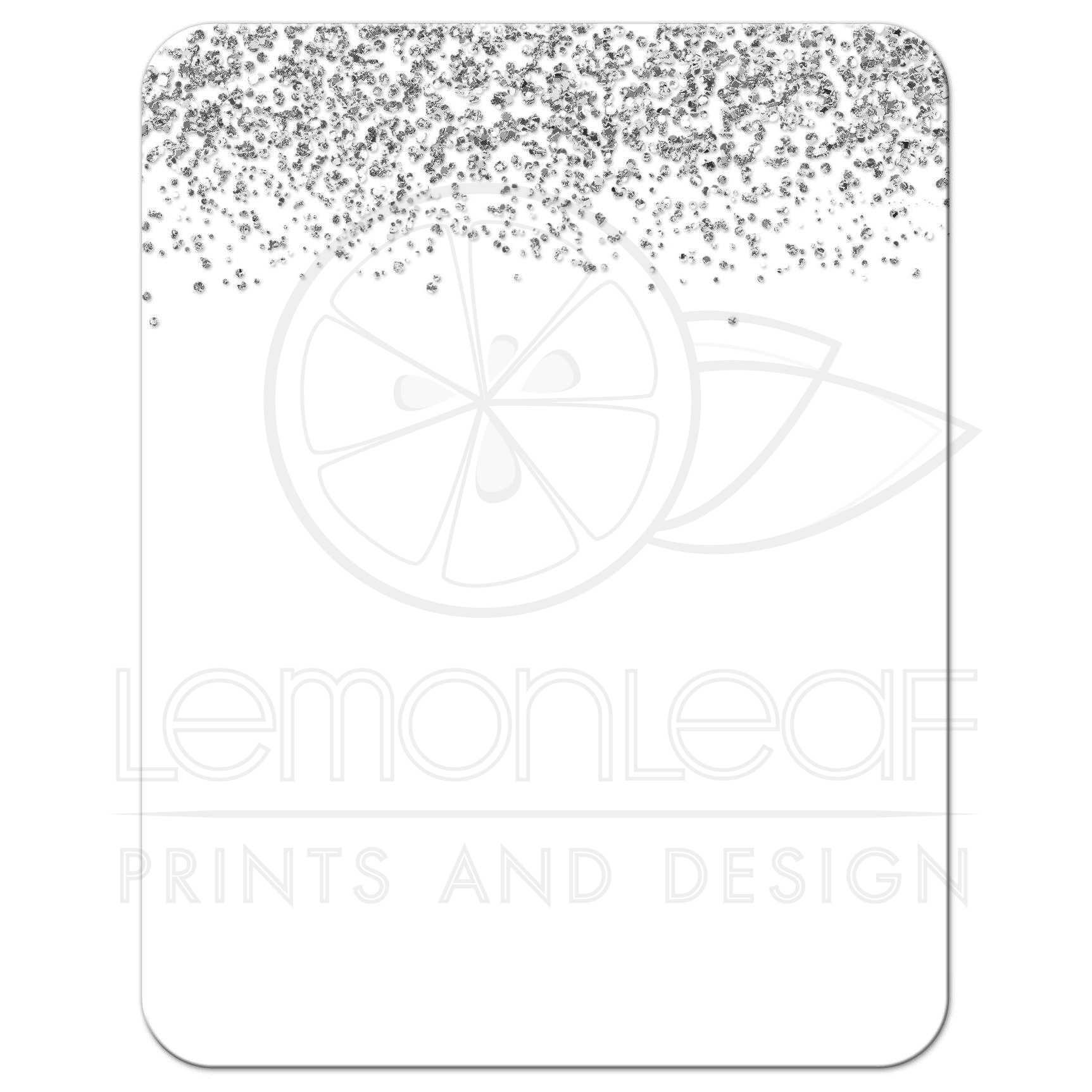 Silver Glitter Confetti & Pink Bat Mitzvah Reception Cards.