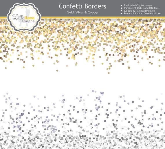 Confetti Border Clip Art, Gold Glitter, Silver Glitter.