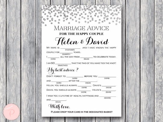 CUSTOM Silver Glitter Confetti Marriage advice cards, Mad Libs TH63.