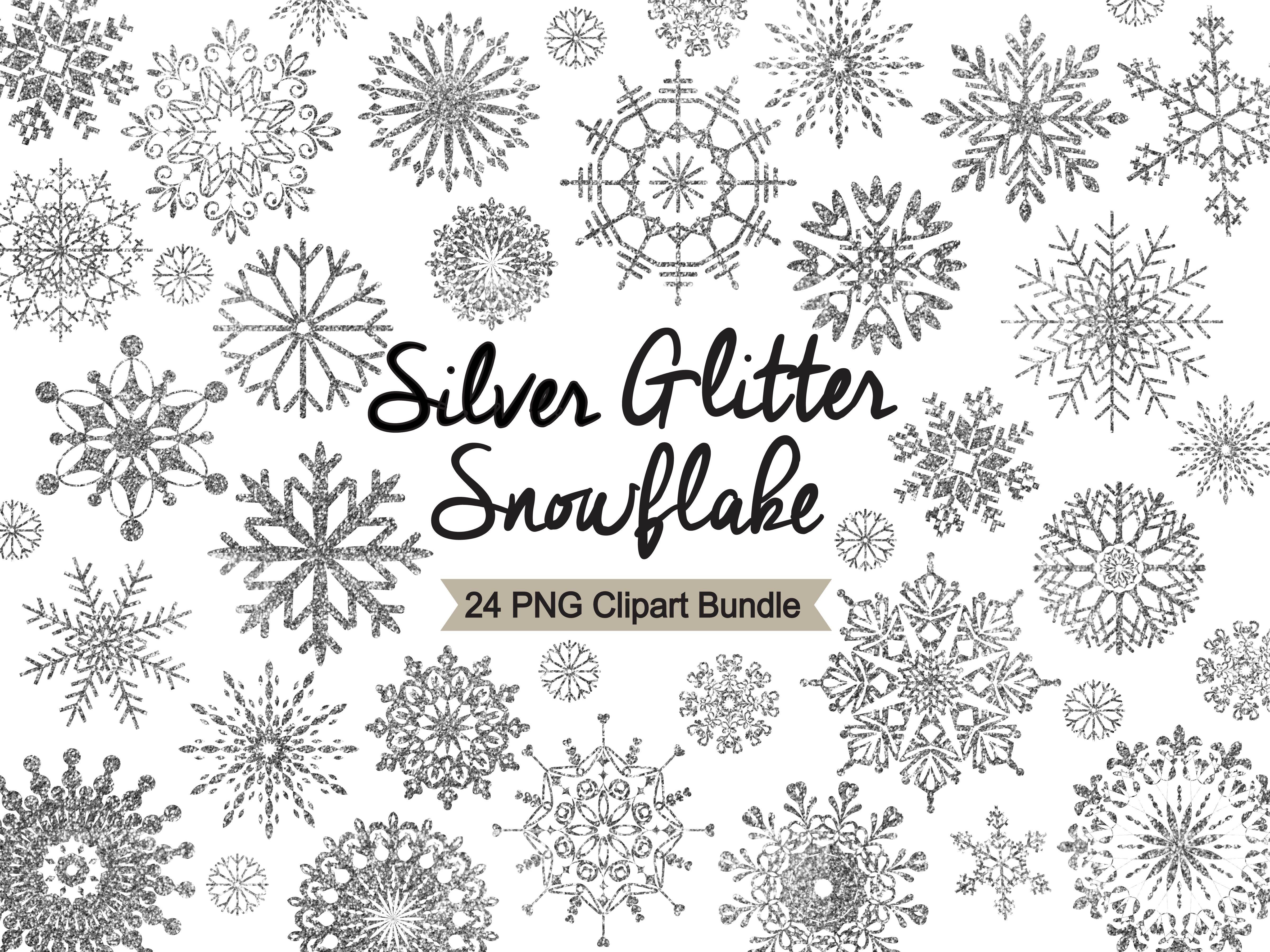 Silver Glitter Snowflake Clipart.