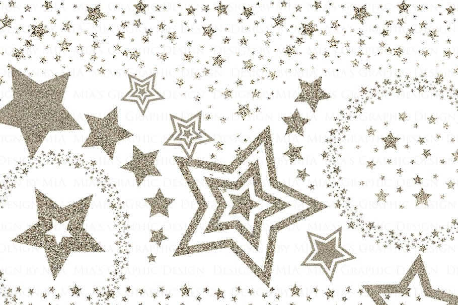 Silver Glitter Stars Clip Art ~ Illustrations ~ Creative Market.