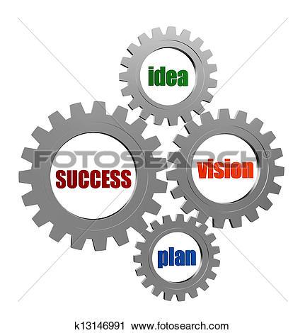 Clipart of idea, team, plan, goal in silver grey gearwheels.