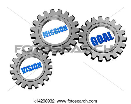 Clip Art of vision, mission, goal in silver grey gears k14298932.