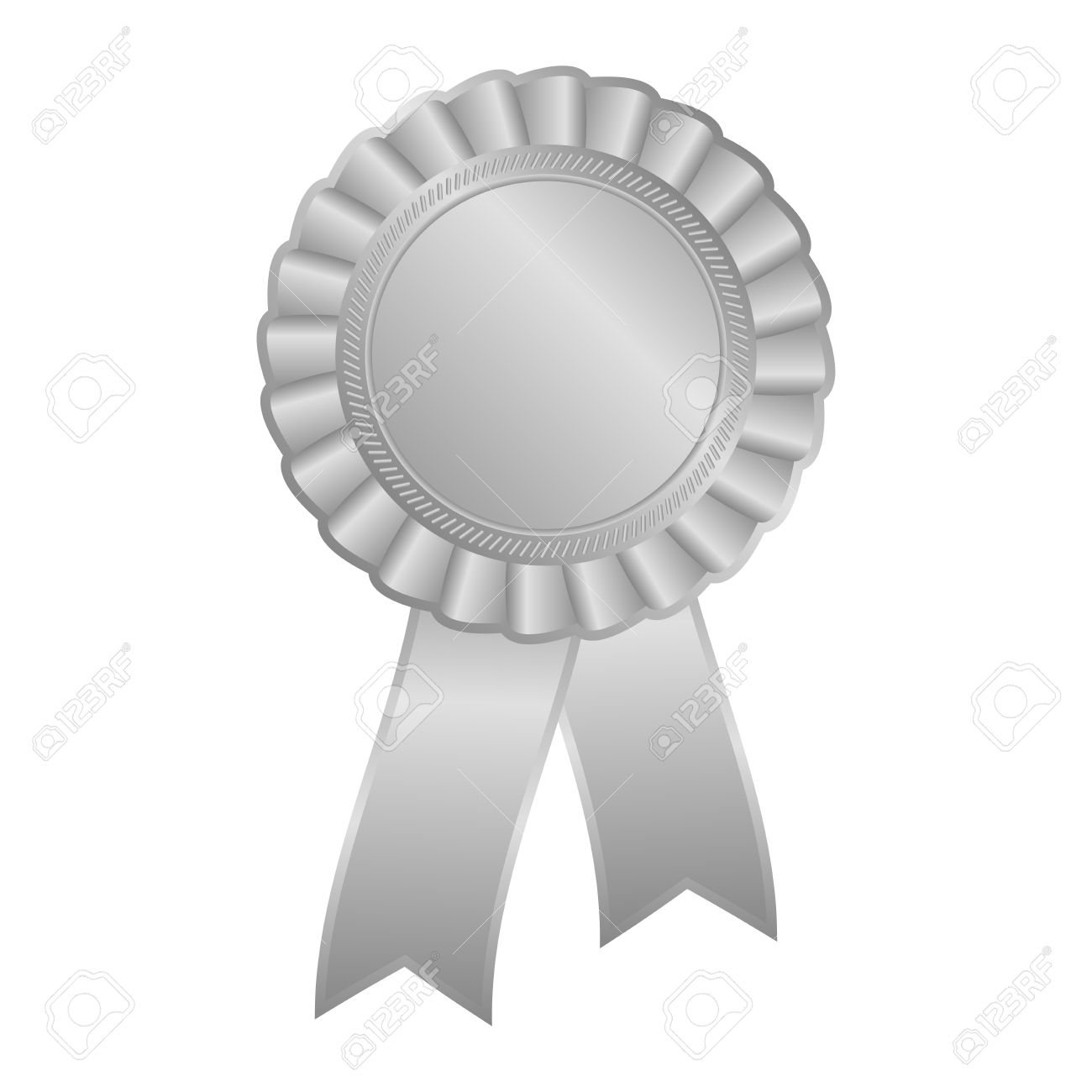 Silver Grey Blank Award Rosette With Ribbon Royalty Free Cliparts.