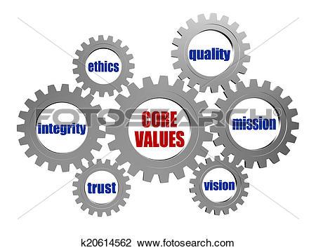 Clip Art of core values in silver grey gears k20614562.