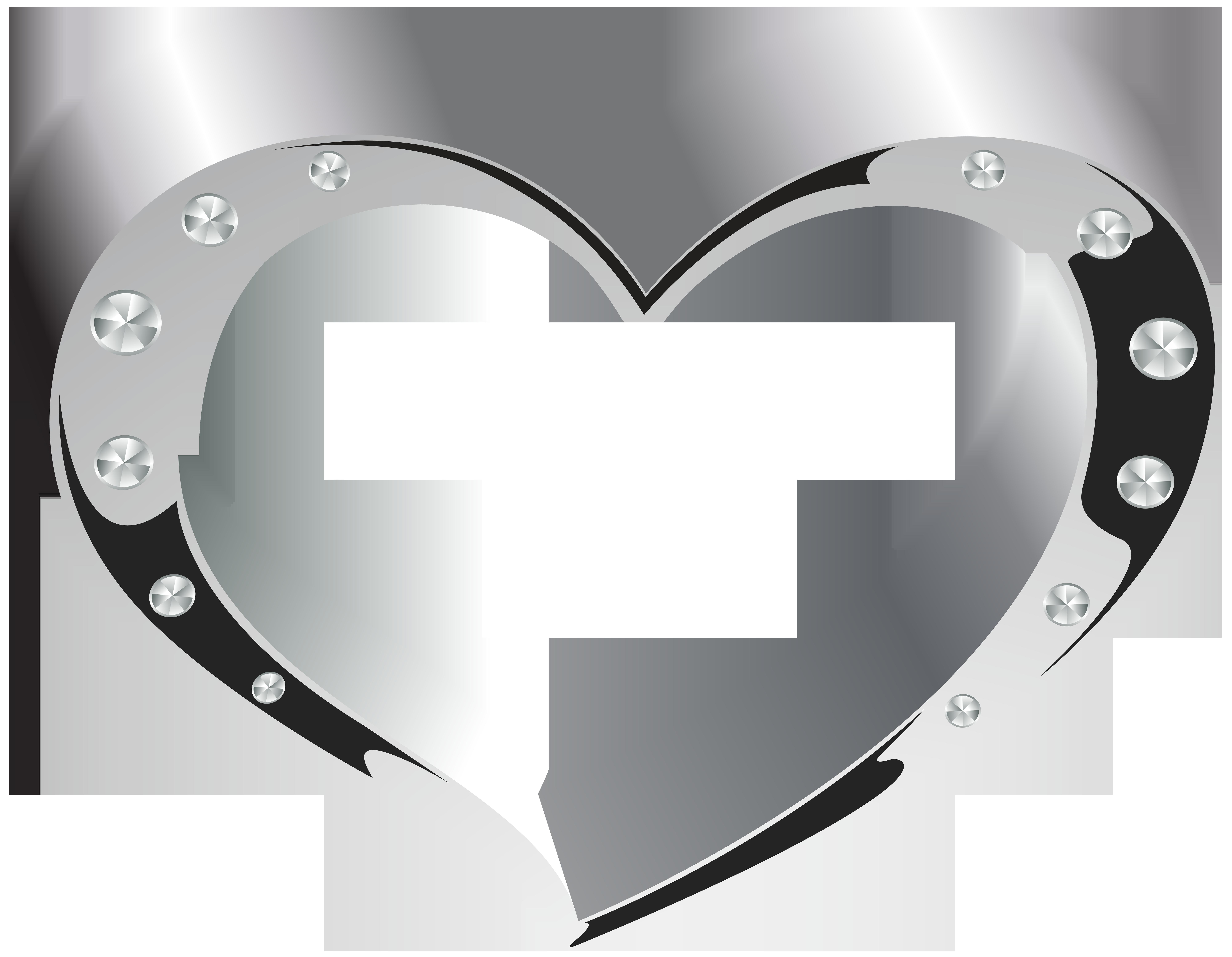 Silver Heart Transparent Clip Art Image.