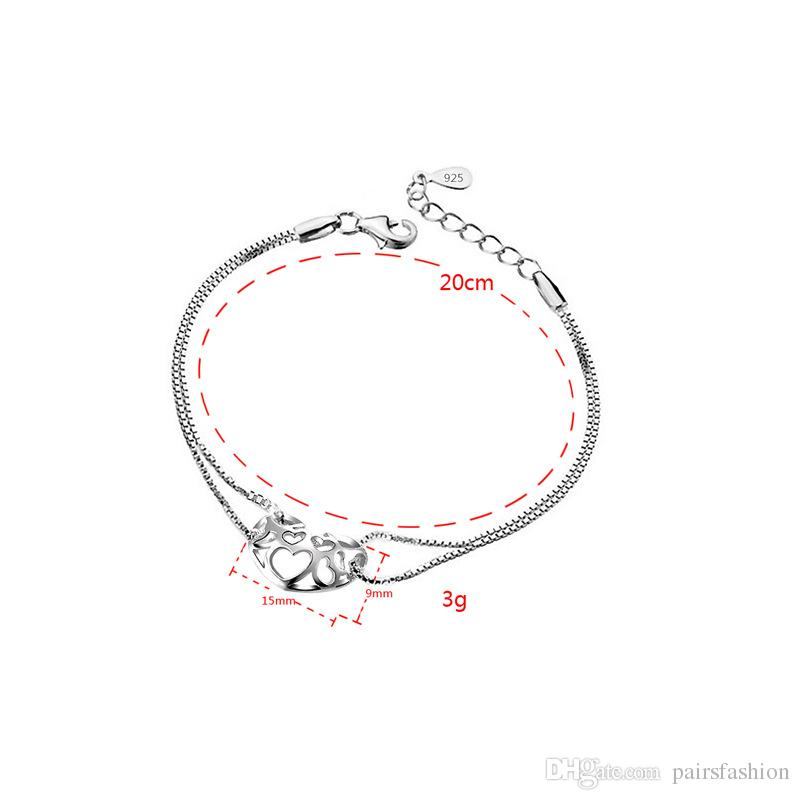 Korean Female Models 925 Sterling Silver Hollow Heart Bracelet.