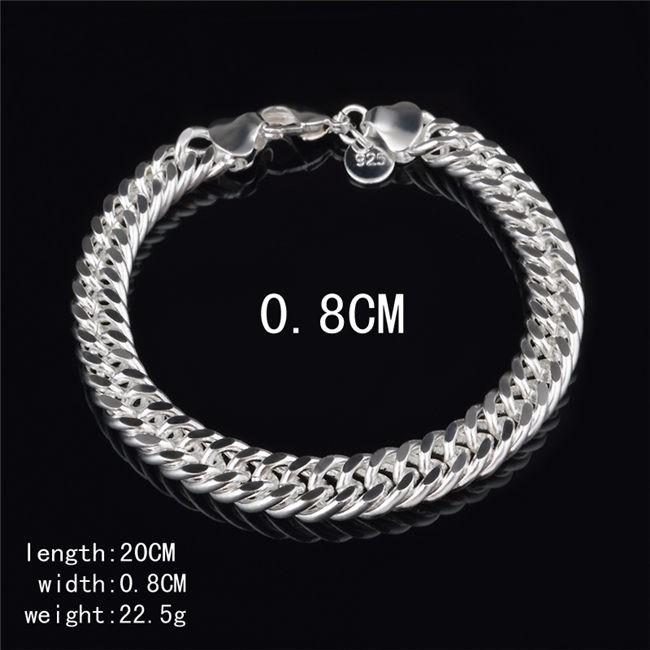 Best Cheap Wholesale 10mm 925 Silver Figaro Link Bracelet Fashion.