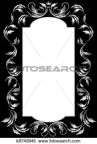 Clipart of Frame of silver leaf in old style o k8745945.