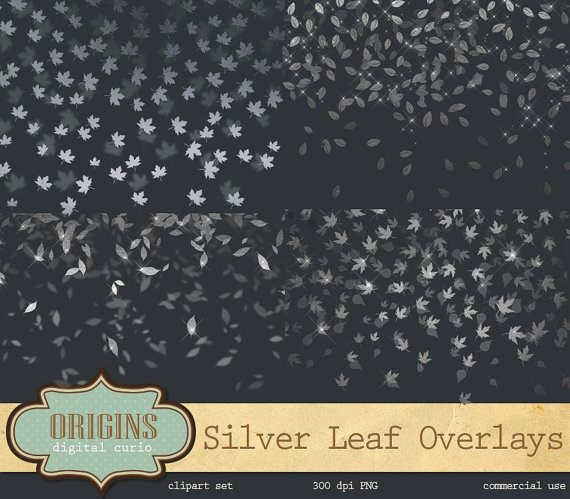 Silver Leaf Confetti Clipart Silver Leaves Autumn PNG digital.