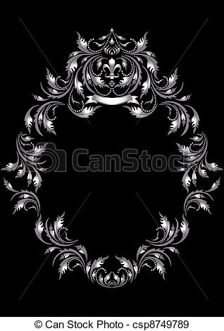 EPS Vectors of Frame of silver leaf in old style.