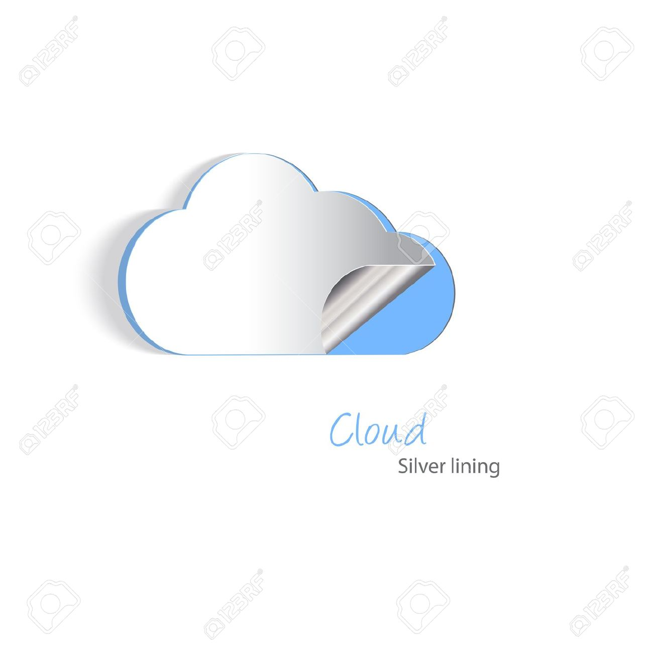 Paper Cutouts Of A Cloud With A Silver Lining. Cloud Hosting.