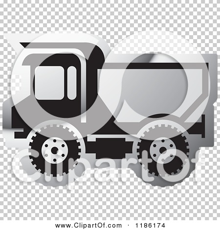 Clipart of a Silver Mining Dump Truck Icon.